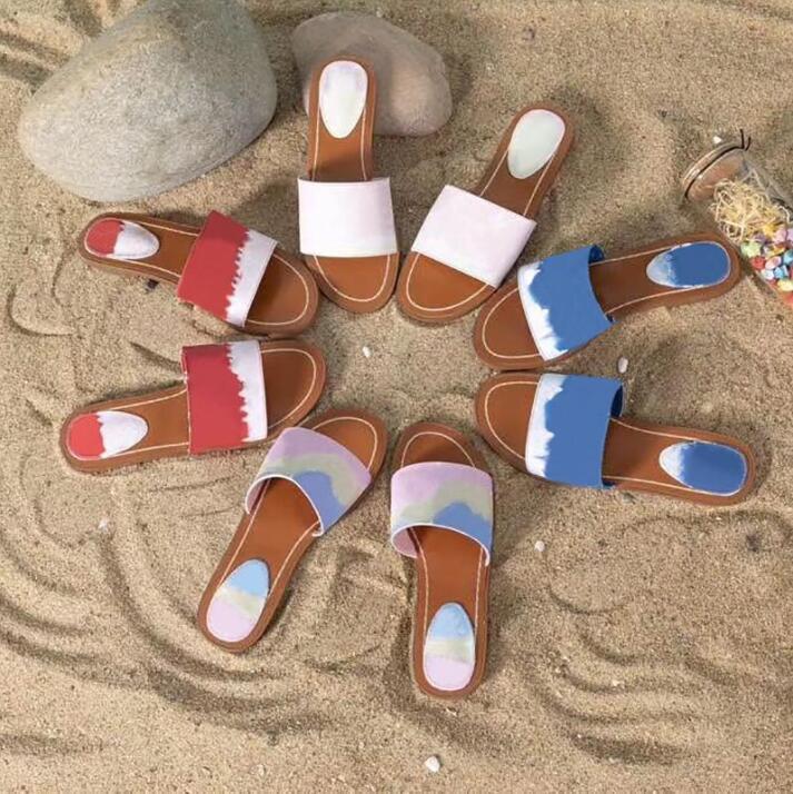 Designer Escale Blocco piatta Mule Donne Slipper brevetto Monogram Canvas di lusso signore blu del sandalo della spiaggia di estate Scarpe Pantoufle diapositive EU35-42