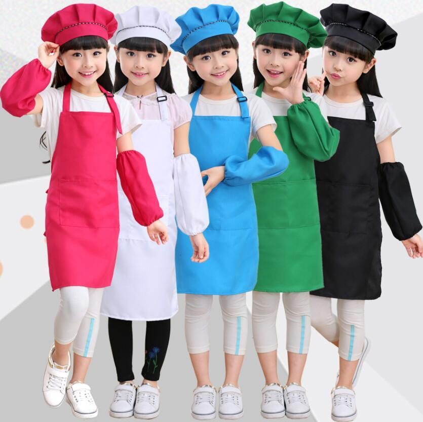 Children Kids Apron Sleeves Hat Set with Pocket Kindergarten Kitchen Baking Painting Cooking Craft Art Bib Apron 1Set=Apron + hat + sleeve