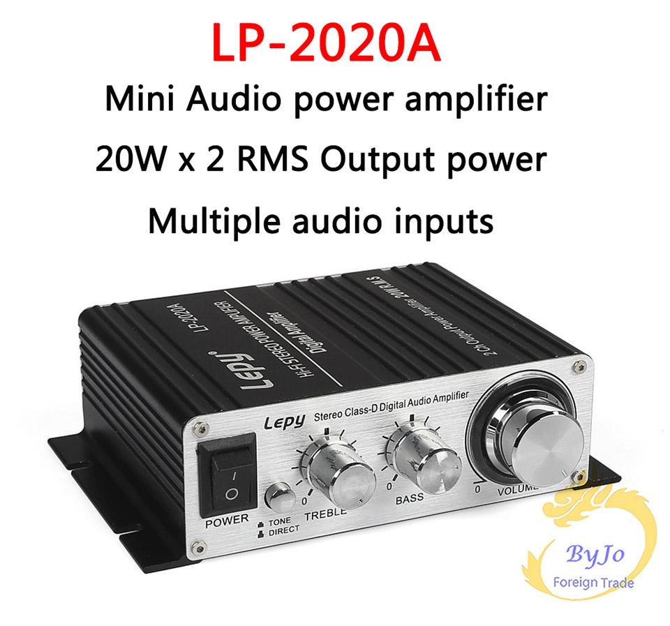 Lepy LP-2020A HiFi Digital Mini Audio Stereo Amplifiers 20Wx2 With Infrared Remote Control Home Car Amplifier+ Power Adapter
