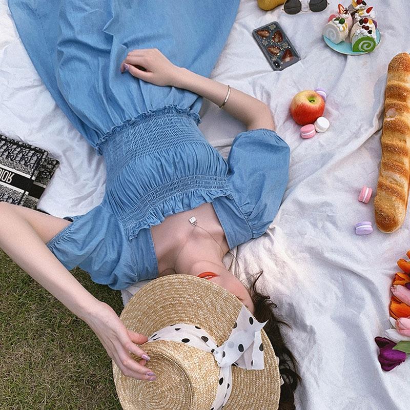 7uF7k celebridade Internet 2020 Francês plissado colar quadrado elástica dresslong saia vestido do verão sobre o temperamento do joelho bolha manga longa