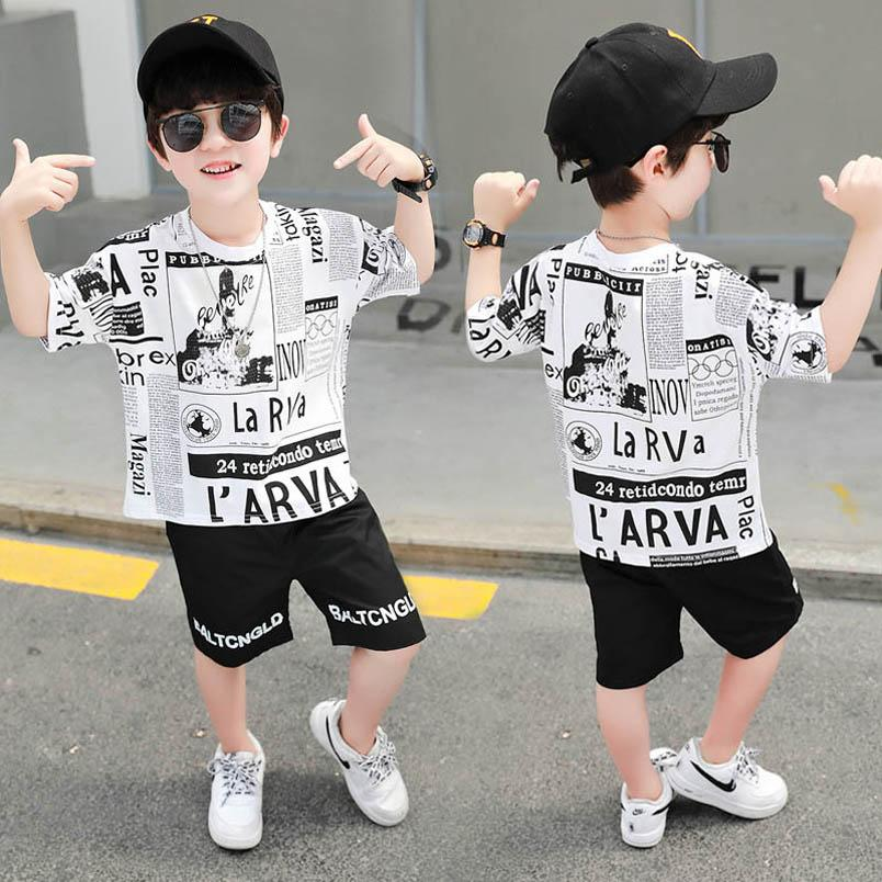 INS été garçons occasionnels costumes enfants mode costumes manches courtes + short 2pcs / set garçons vêtements ensembles garçons vêtements pour enfants vêtements B1826 détail