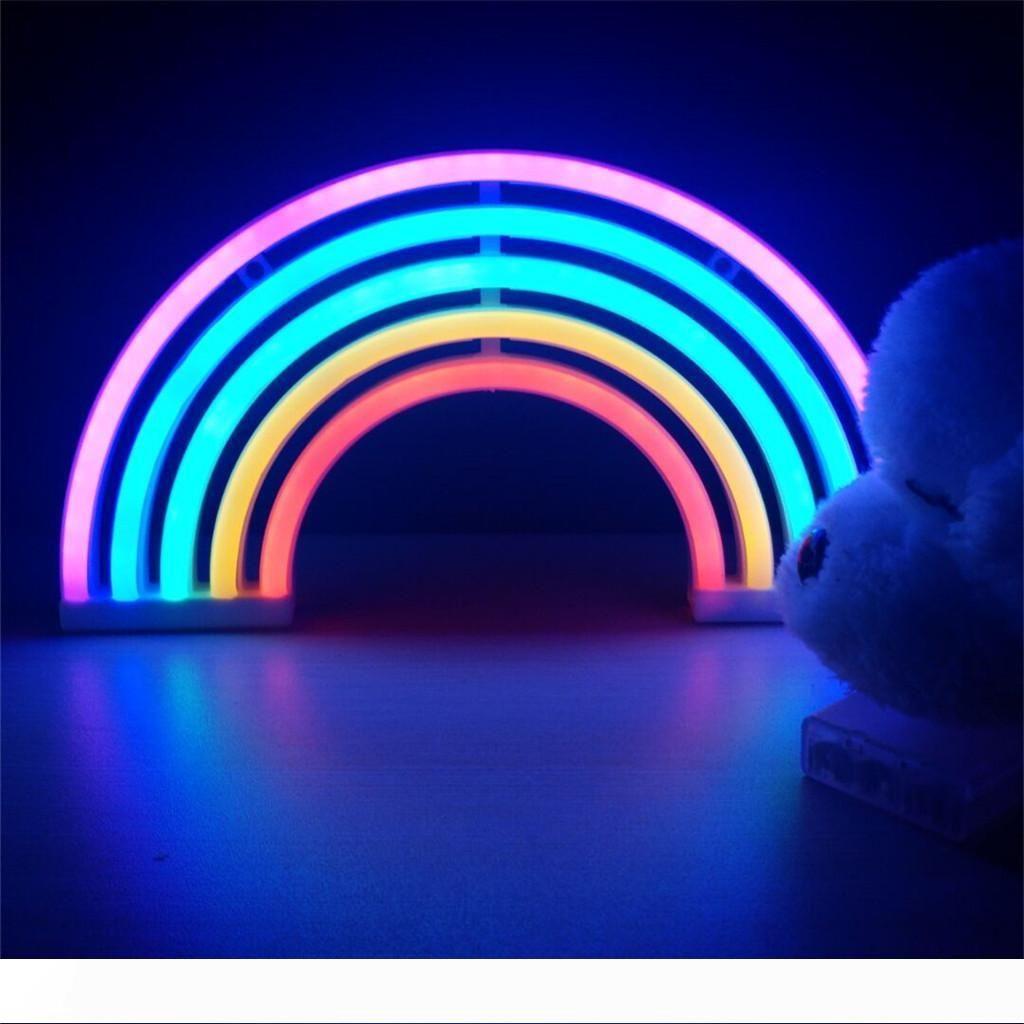 Moda Renkli Gökkuşağı ışık tatil Noel partisi düğün süslemeleri çocuk odasında gece lambası ev Dekor duvar Decor imzalamak neon led