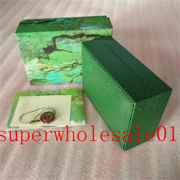 homens relógios de alta qualidade caixa de couro verde relógios Tag cartão de livreto e papéis em Inglês 24