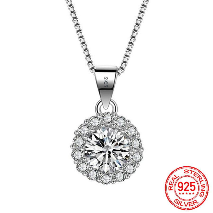 Real 925 Sterling Silver 1 Ct Round Zircon CZ Pendant Necklace Wedding Engagement Jewelry Gift Accessories Women X072