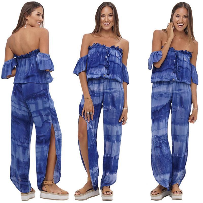 2020 novo corante Europeia laço ocasional impressa Jumpsuit moda solta fora do ombro calças superiores das mulheres de manga curta