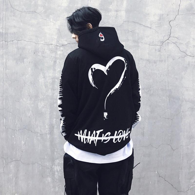 Hip Hop con cappuccio Felpa Uomo Donna Loving Heart Stampa dimensioni Copricapo Hoody Hiphop Felpe Felpe Stati Uniti S-XL CX200723