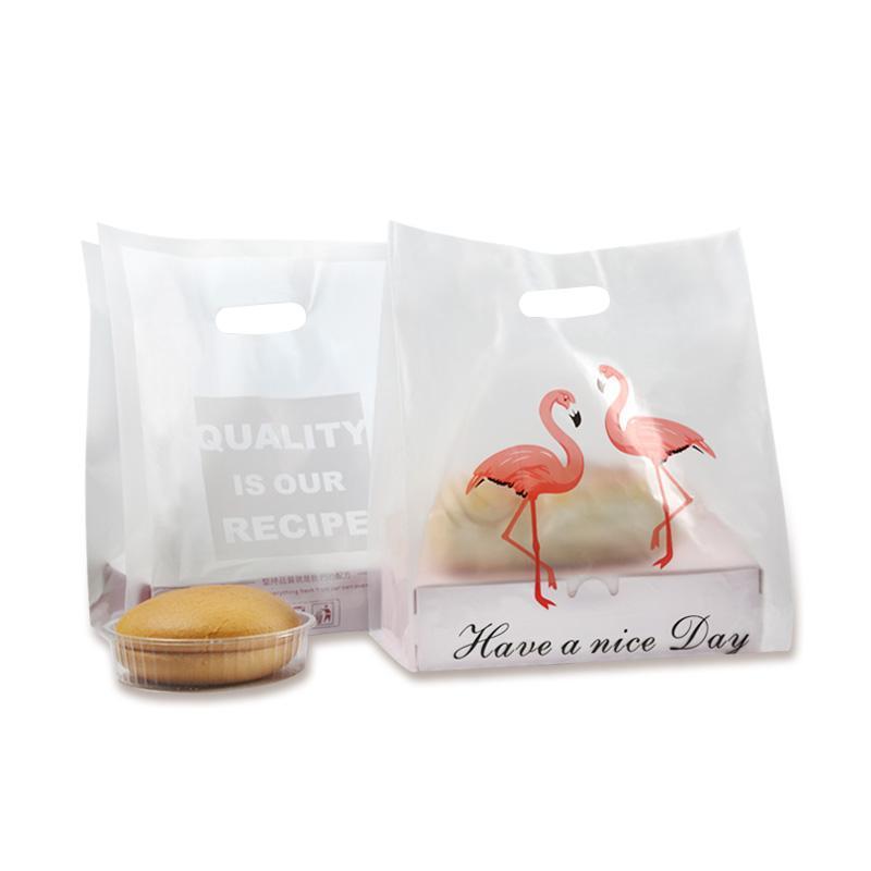 100pcs qualité Flamingo sac en plastique sacs de biscuits gâteau d'emballage en plastique Takeout boîte à lunch Sacs Paquet gros