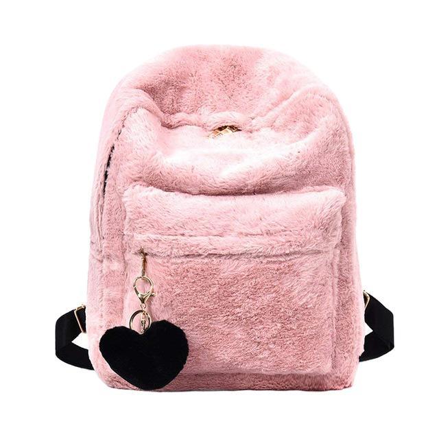 하트 펜던트의 저렴한 배낭 LJL 여성 소프트 가짜 모피 봉제 배낭 어깨 가방 무성한 학교 가방 (핑크)