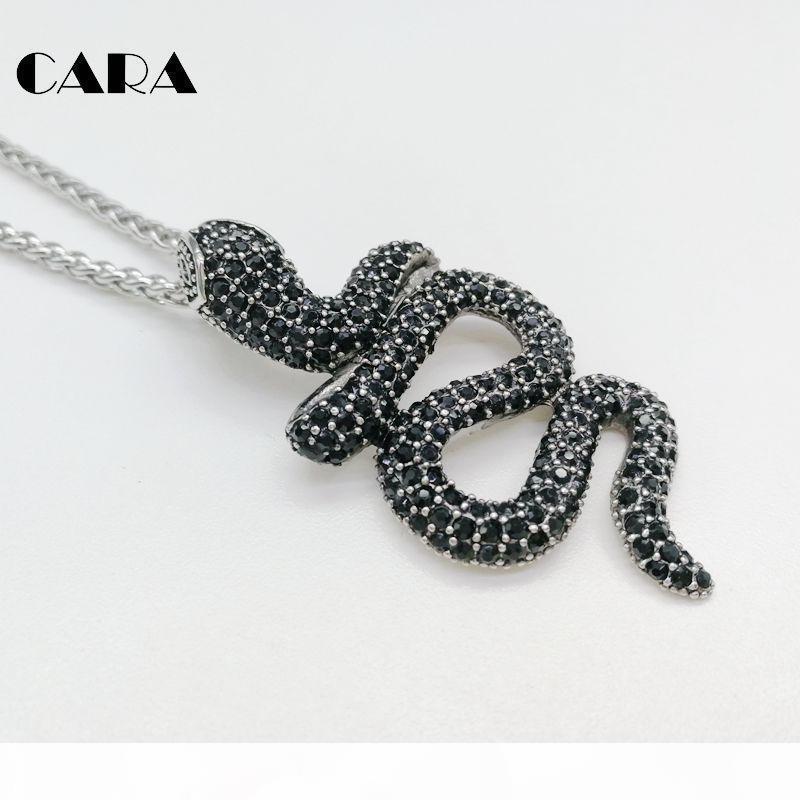 CARA Nuova collana progettista zirconi completa Snake collana pendente cz collana moda pietre animale serpente per gli uomini CAGF0418