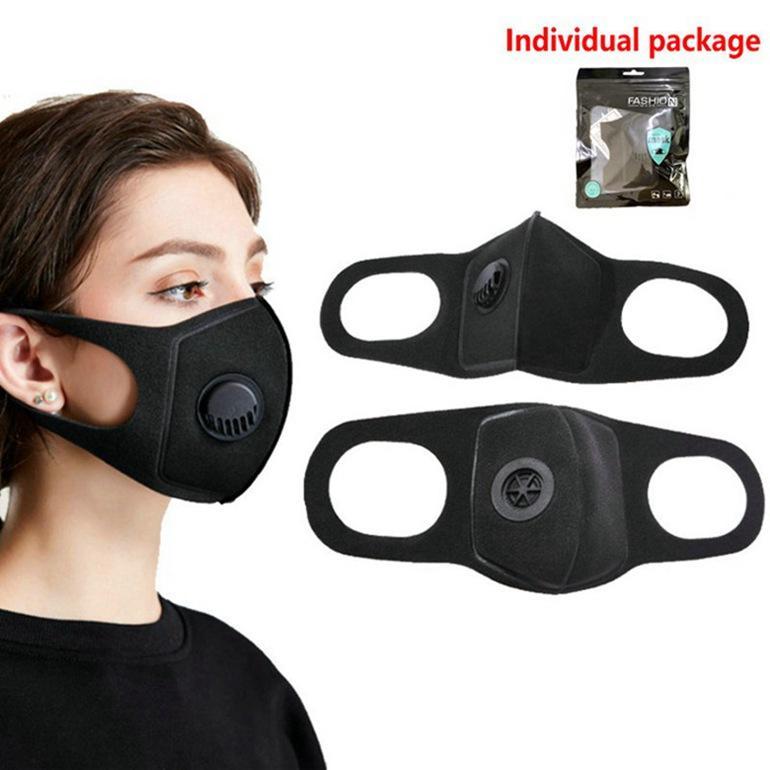 Yüz Toz geçirmez Vana Sünger Yıkanabilir Tekrar Kullanılabilir Karşıtı Toz Sis PM2.5 Koruyucu Maskeler 1000pcs Maske Nefes Maske