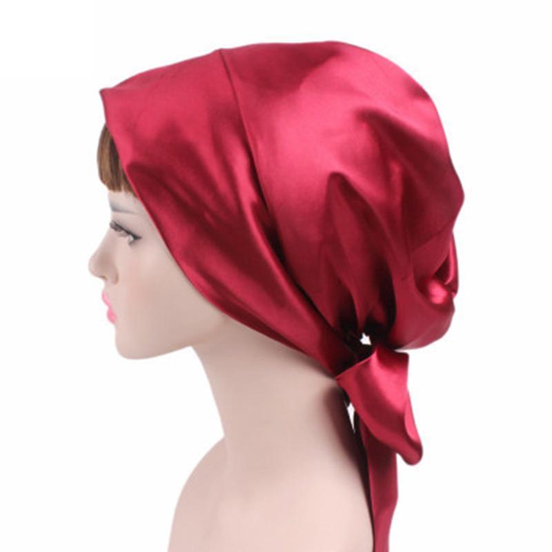 İpek Gece Uyku Cap Saç Bonnet Şapka Merkez Kapağı Saten Turban Wrap Başörtüsü