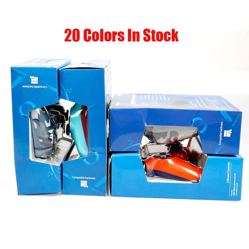 المراقب بلوتوث اللاسلكية لPS4 الاهتزاز المقود غمبد تحكم لعبة سوني بلاي ستيشن مع صندوق البيع بالتجزئة 23 الألوان