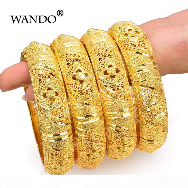 Wando 4pcs Hochzeit Schmuck-Armband für Frauen Mädchen-Armband-Goldfarben-arabischen äthiopisch Schmuck Braut Bangles Ramadan Schmuck J190719