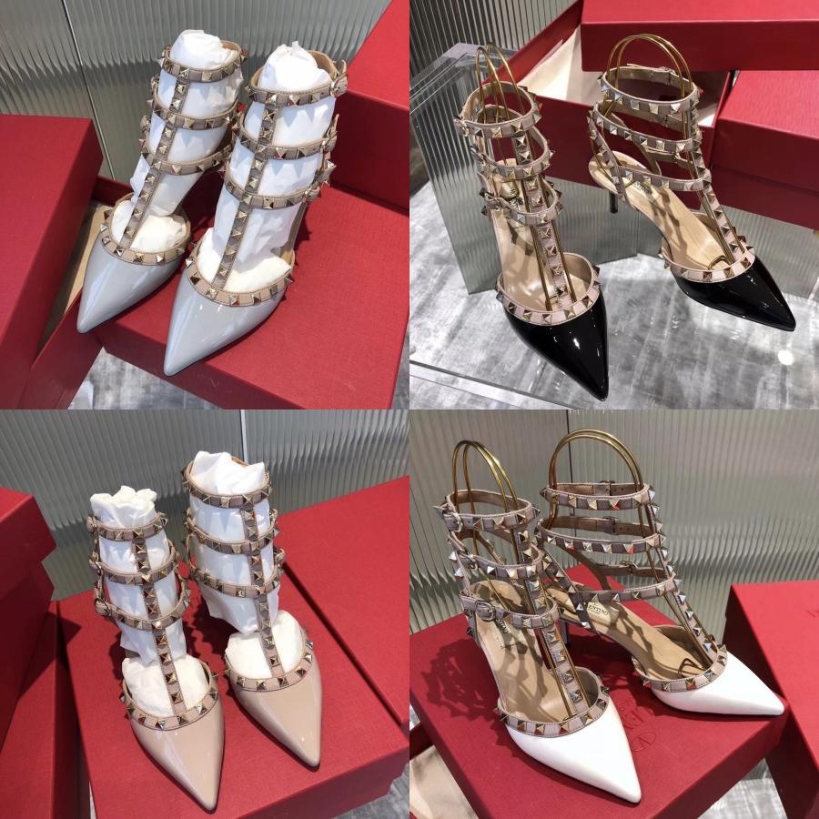 2020 Новый женский кожаный Сандал Дизайнерские Резные выдолбленные Толстые Высокие каблуки черный западный стиль рыбы рот обувь US4-12 с Box # 721