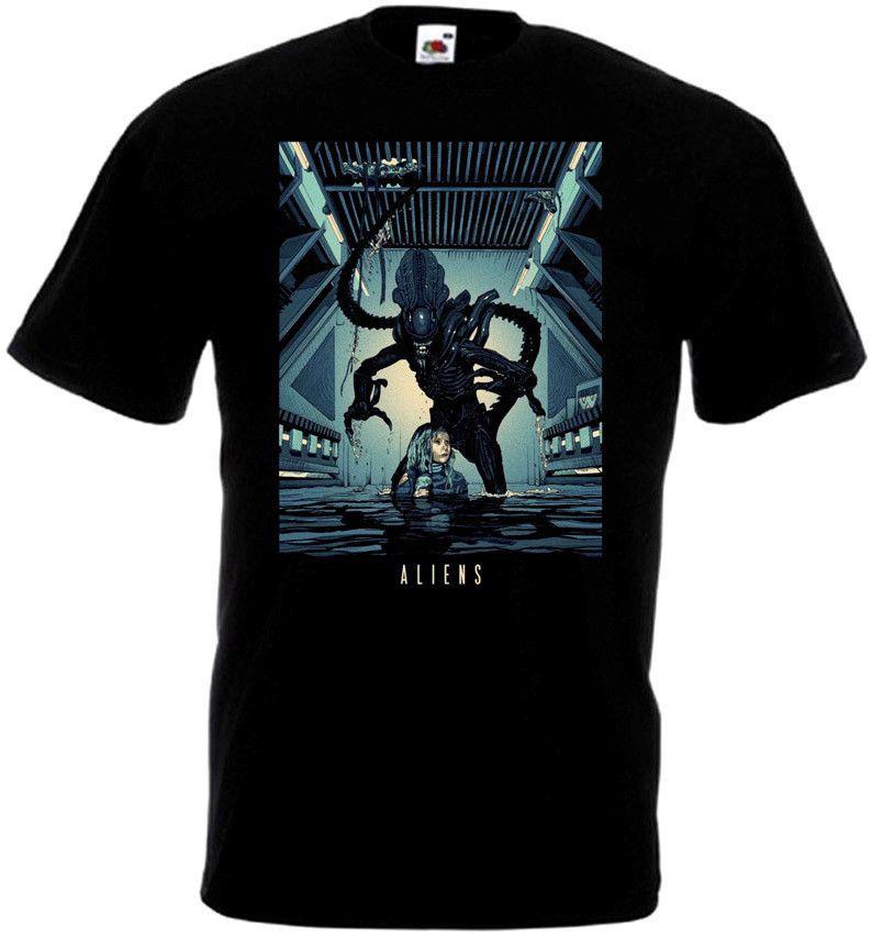 Impressão estrangeiro 7 cartaz cinematográfico do vintage T-shirt do presente Crewneck T-shirt Boa Qualidade 2019 Crânio Camisetas Camisetas Plus Size Men
