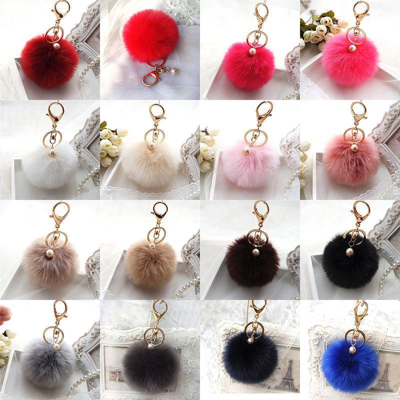 White Handbag Cute Bag Intimation Pearl Fluffy Fur Pom Pom Ball Keychain To Locate Keys Stylish Fashion 12 Colors
