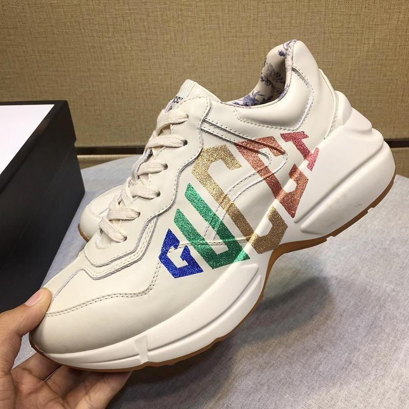 Baskı Erkek Ayakkabı Düşük En Dantel -Up Erkekler Ayakkabı Açık Yürüyüş Lüks Sneake ile Yeni Geliş Manner Schuhe Erkek Rhyton Sneaker