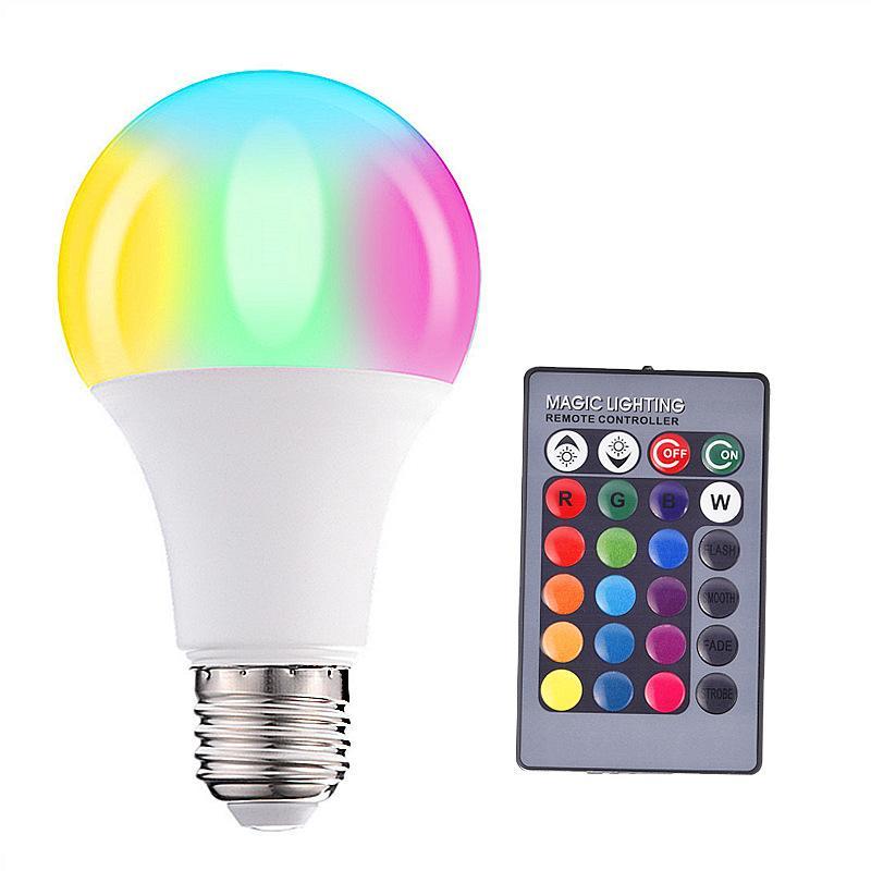 화려한 색상 RGB 전구 색 램프 A60 플라스틱 클래드 알루미늄 10201 주도 리모콘 전구 램프 변화