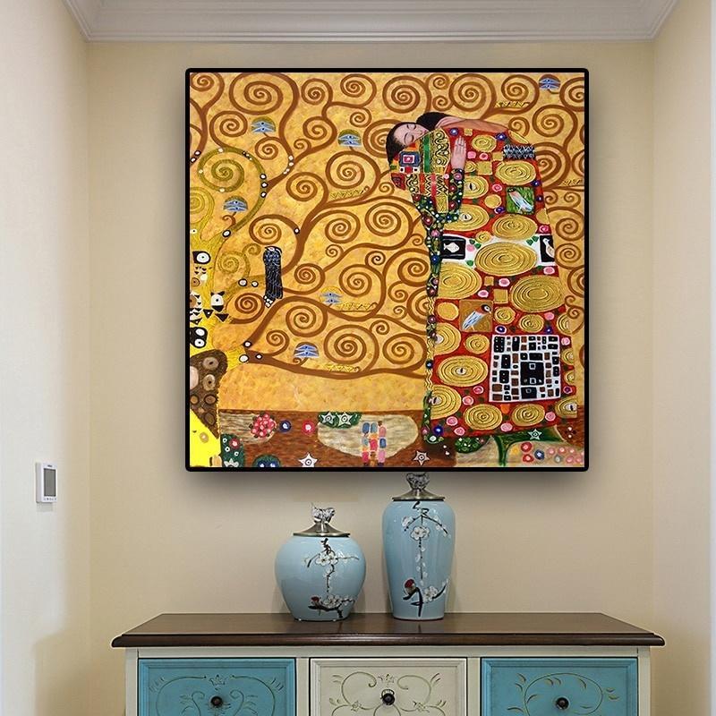 Cumplimiento de Gustavo Klimt óleo famosa de la pintura clásica del cartel lona imprimen la pintura abstracta de la reproducción cuadros de la pared de la sala de estar de la decoración