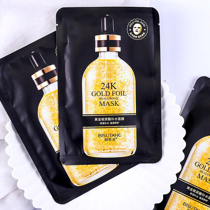 24k Gold Hyaluronic hydrate skin Easy absorb Smooth and tender skin Black Face mask remove wrinkles Facial Mascarilla Wholesale face masks