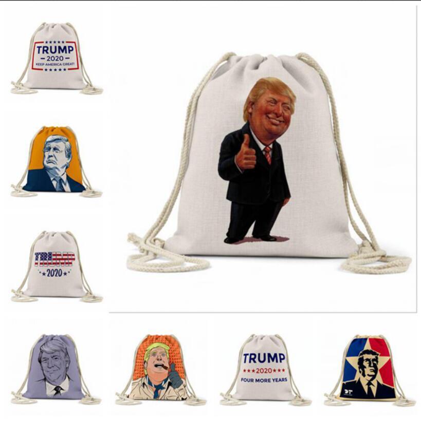 Trump plage Sacs à dos Trump extérieur sac de rangement d'impression numérique campagne Campagne Pouch Drawstring Trump Shopping Bags 16 Styles LJJA83