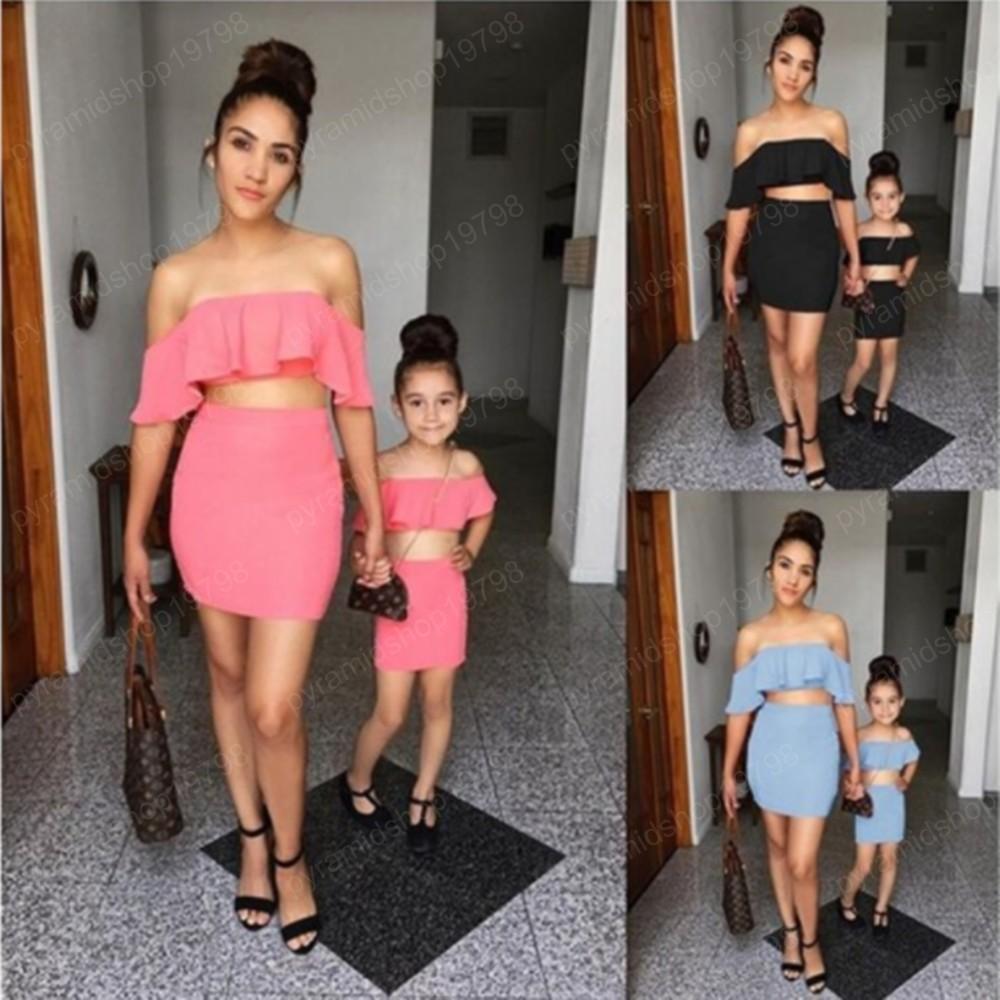 Matching família Clothes Set Verão Mommy and Me mangas Ruffles shirt + short terno de saia Outfits Mãe Roupa filha