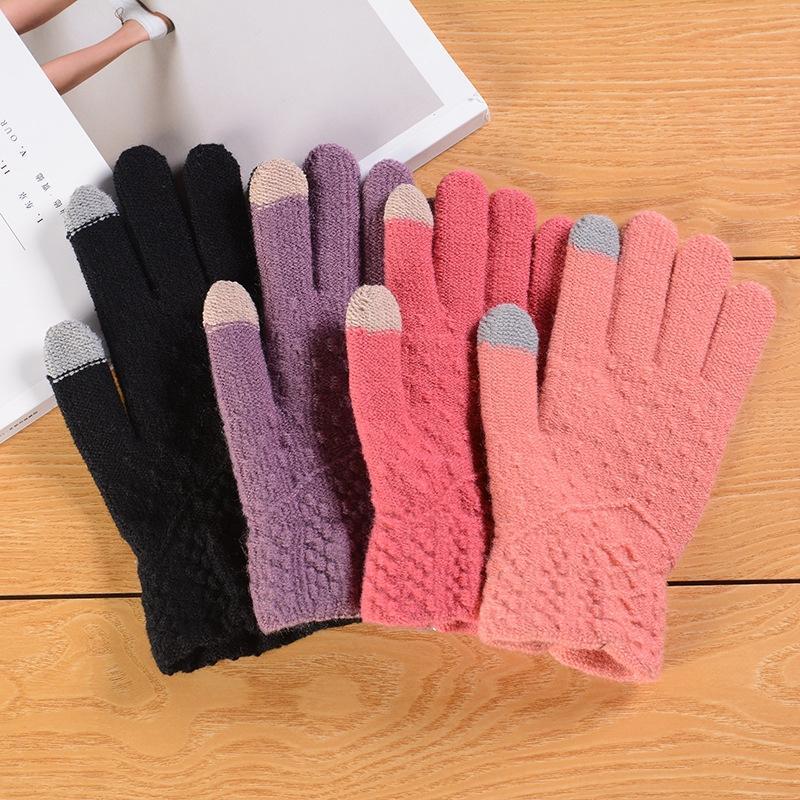 Cálido toque de moda y guantes de la pantalla de punto de otoño e invierno guantes calientes
