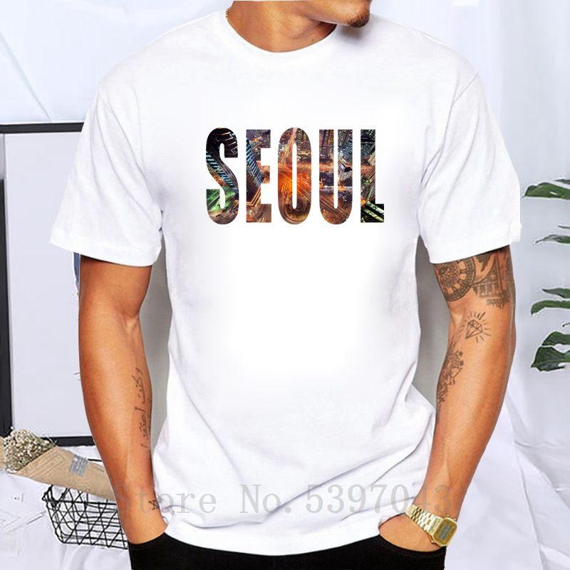 Neue Männer-T-Shirt südkoreanische Hauptstadt Seoul Stadt Printed Sommer-beiläufigen T-Shirt Weiß Fit Männer O-Ansatz T-Shirt aus 100% Baumwolle