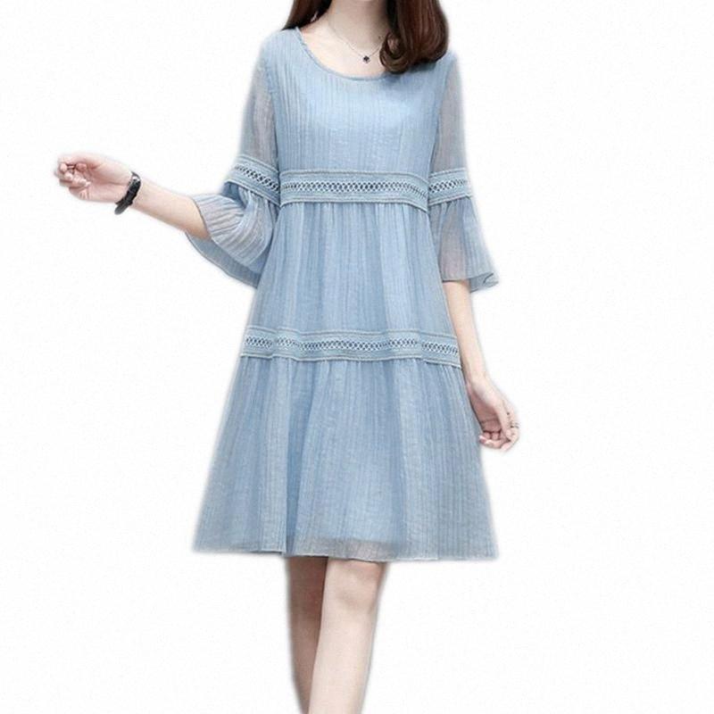 Mutterschaft Kleider 2020 Schwangerschaft Kleidung für Frauen-Kleid-Art und Weise Chiffon- losen schwangeren Frau Kleid Plus Size Umstandsmode eOXU #