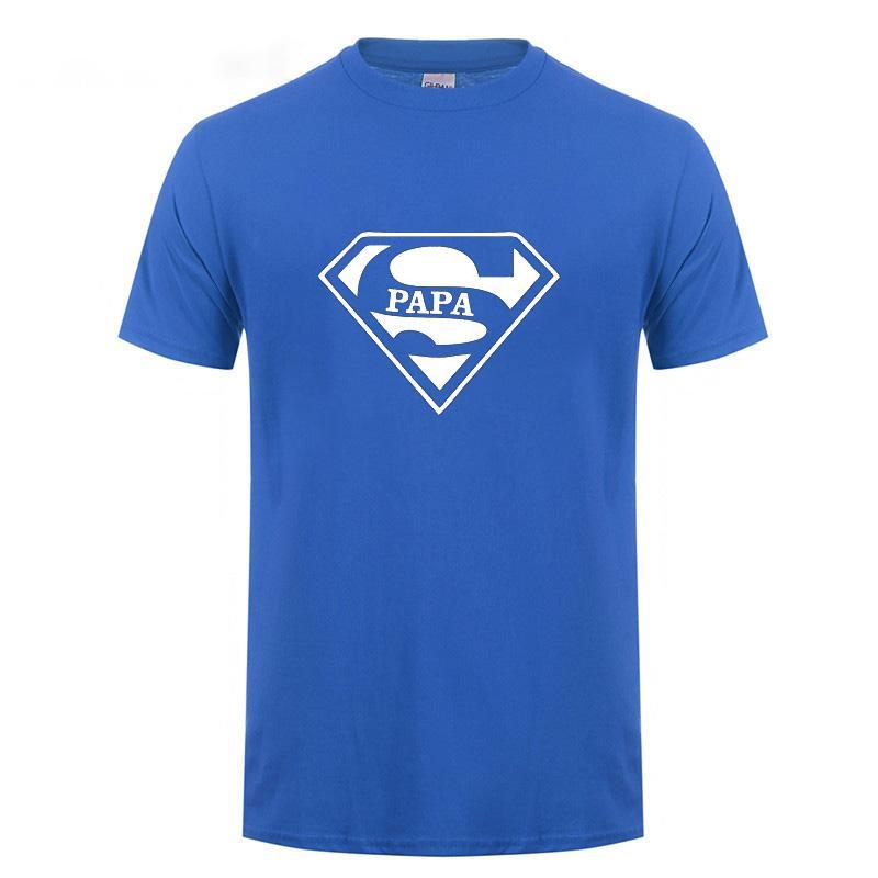 Padres Presente de aniversário engraçado Presente do dia para o pai Pai Super Papa T-shirt Homens Verão algodão de manga curta O Neck T Shirt Tops Tee