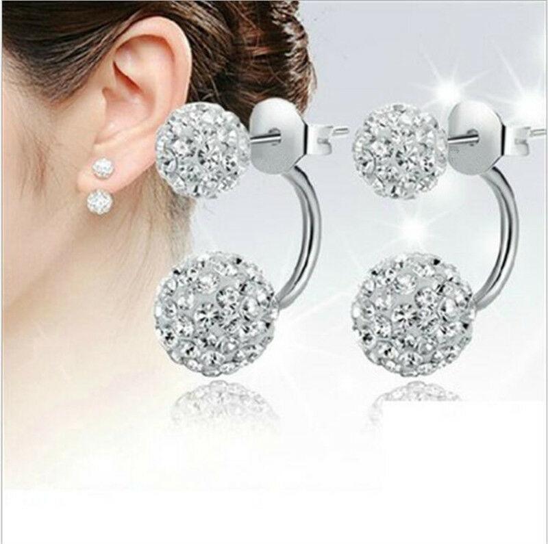 925 실버 도금 크리스탈 볼 여성 귀걸이 2 한국 스타일 아름다운 귀 보석 알레르기 샴발라 볼 패션 귀걸이 도매