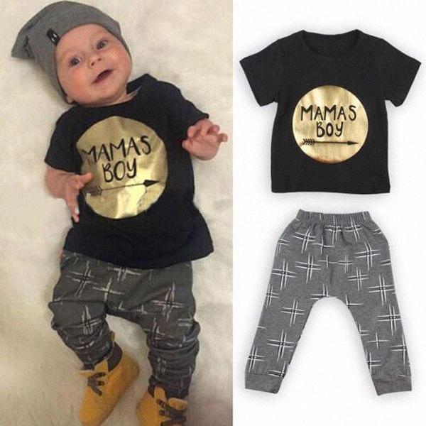 2pcs Nouveau été Or Lettrage pour les garçons de bébé layette pour bébé 100% coton à manches courtes Tops + longues Pantalons 0-24M Vêtements de #