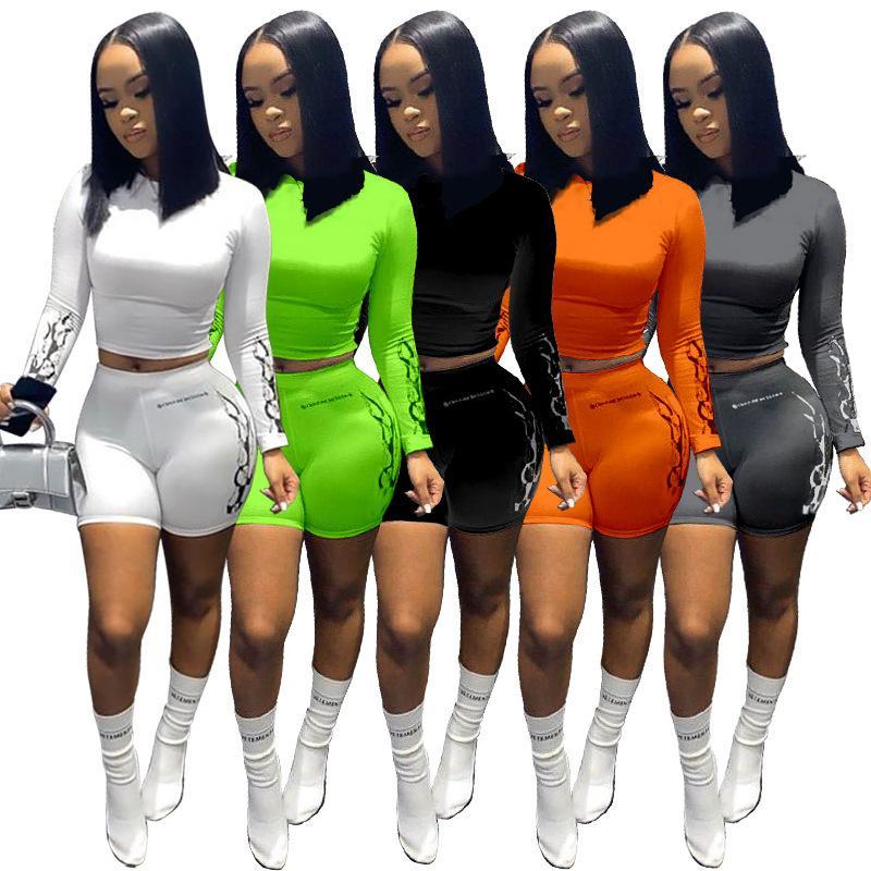 Dos mujeres diseñador pieza Trajes de manga larga camiseta de 2 piezas Conjunto Body chándal Sportsuit Pantalones cortos Pantalones Sport traje color sólido 808