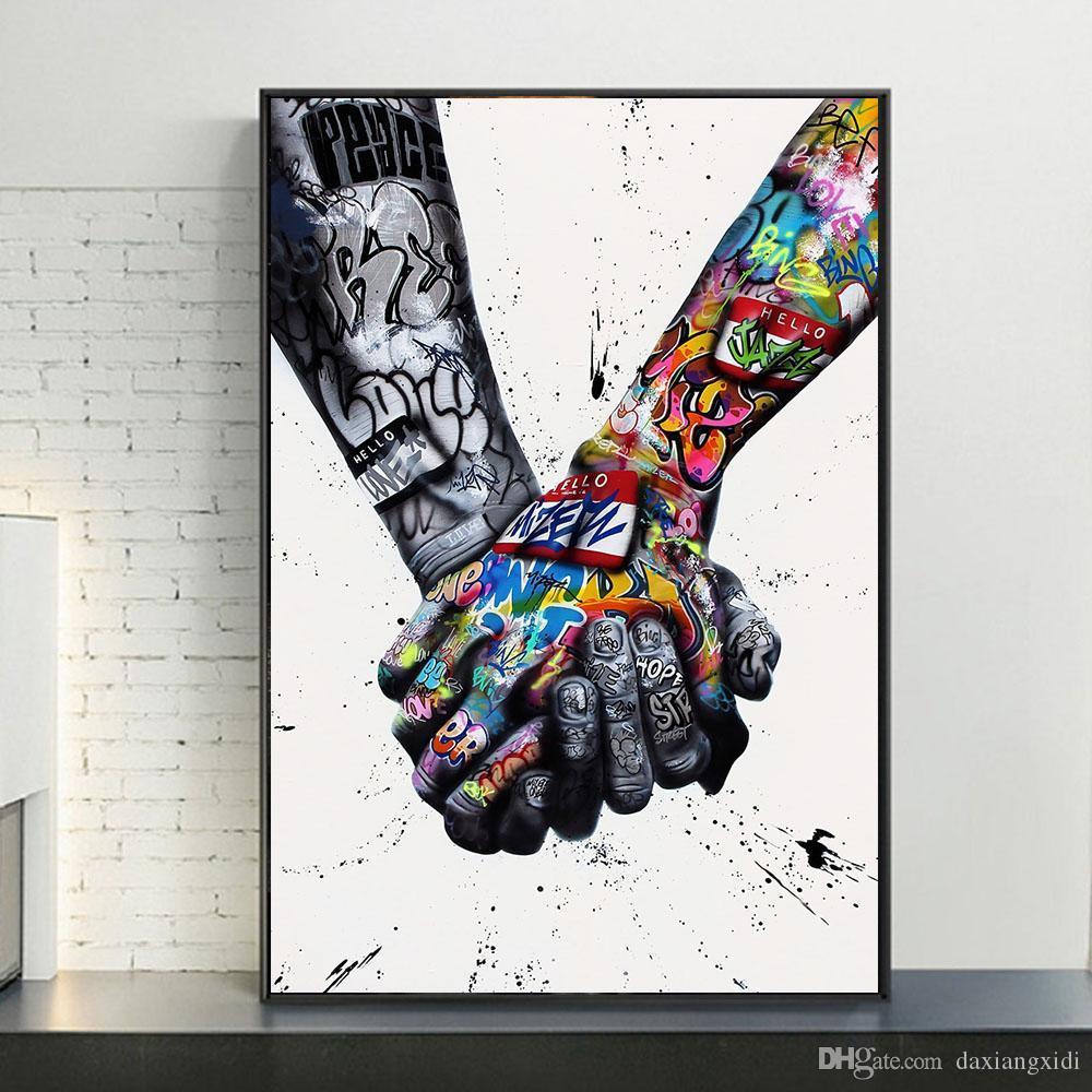 Amante Mãos Graffiti Art Street Art Canvas Pinturas Inspiração Obra Wall Art Pictures para Living Room Home Decor (No Frame)