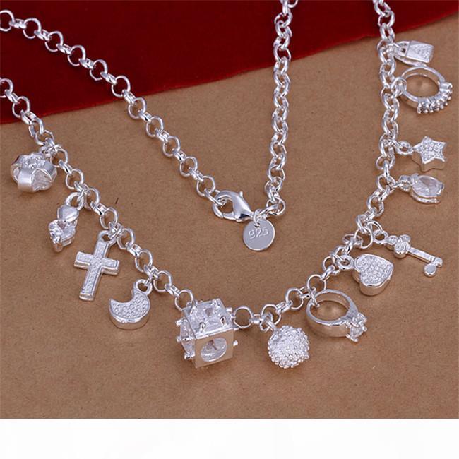 S Gümüş Kolye Gtp54, Moda Kelebek Çiçek 925 Gümüş Kolye 6 adet A Lot Karışık Style; S Modelleri Kadınlar 'Burst