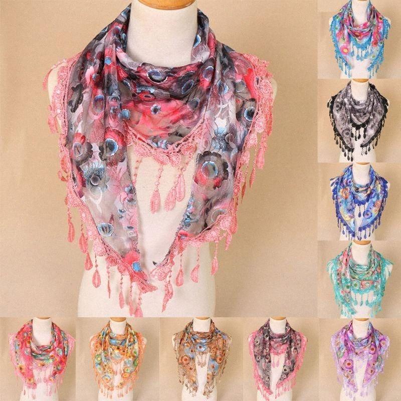 Mujer de encaje borla floral multicolor de impresión sin relleno mantón de la bufanda envuelve las bufandas Dropshipping de decoración descuento hqFY #