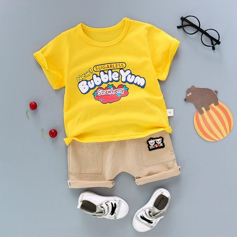 2020 детской мода рыхлого письма печать короткого рукава для мальчиков досуг летней одежды нового двухсекционных футболок типа футболка комплект