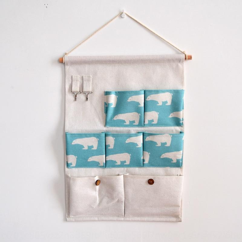 Maison simple mur porte tissu toile de coton impression de mode mur de toile de coton suspendu arrière suspendu sept sacs sac de rangement sac de rangement
