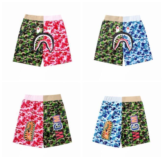 Summer Men's Green Blue Splice Camo Shorts Brand Hip-hop Beach Pants Hot Star Shark Camo Men Women Shorts Pants