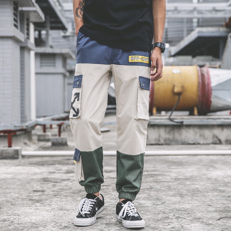 marca marca OW19SS Graffiti flecha coincidencia de colores costura con múltiples bolsillos de herramientas pantalón de tela cintura del tobillo se contrae