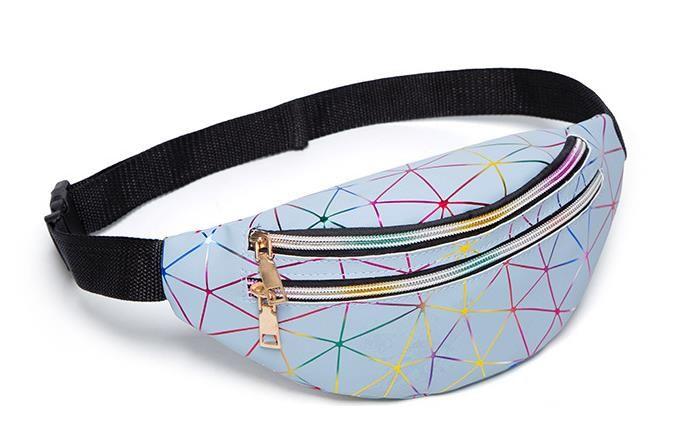 핫 여성의 성격 레이저 다채로운 스포츠 멀티 레이어 허리 가방 2020 새로운 다이아몬드 격자 크로스 바디 가슴 가방