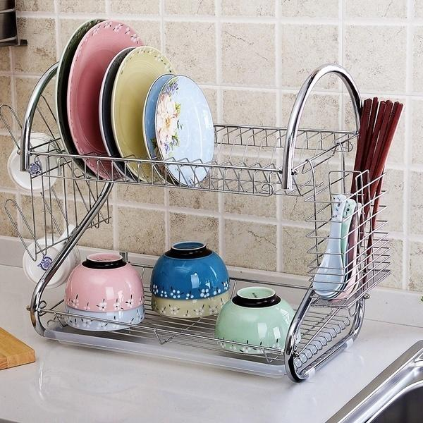 Multifunctional Silver S-shaped Double Layer Dishes Chopsticks Spoon Storage Rack Dishes Drainer Kitchen Storage US Stock