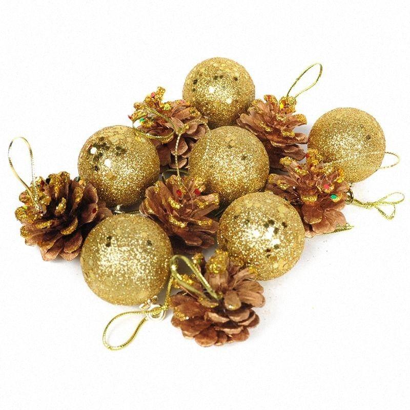 12 PC / sistema de bolas de Navidad y conos del pino Chucherías del árbol de Navidad decoraciones caseras ornamento zxkc #