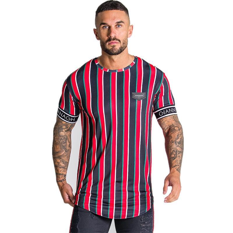 Casual camiseta para hombre verano Streetwear raya Hombres camiseta Marca la ropa del hombre de Hip Hop Tees Hombre manera de las tapas camiseta de los hombres