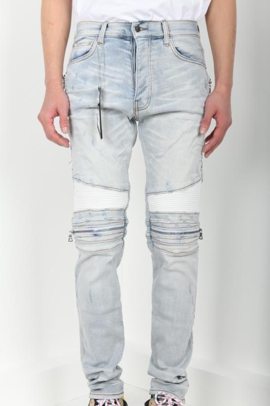 Männer seitlichen Reißverschlusses weißen PU-Leder gerippten dünnen Flicken lt Blue Jeans