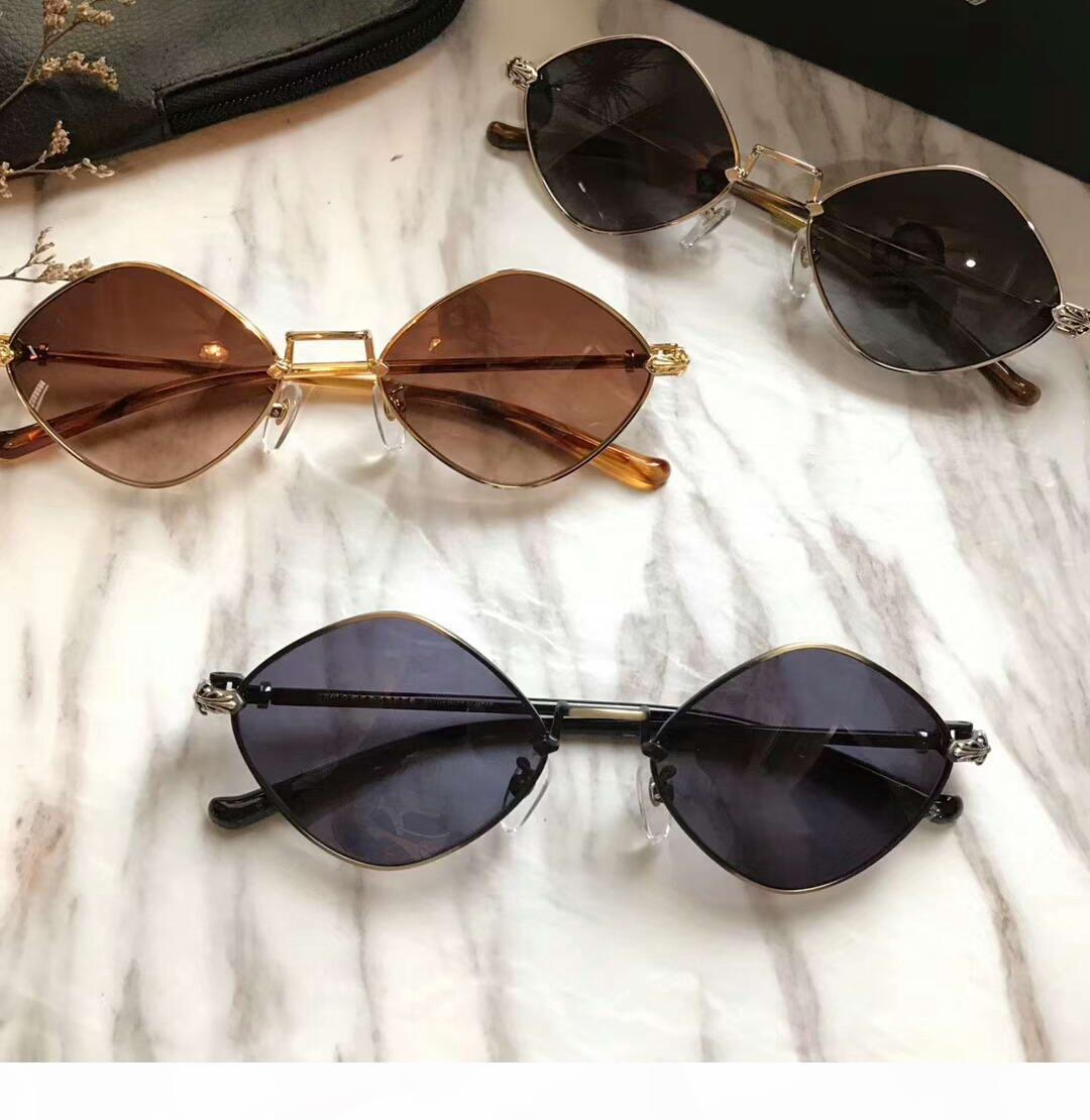 Diamant Dog TORTUE d'or de Brown Gradiend lentille lunettes de soleil Sunglass femmes lunettes de soleil avec boîte