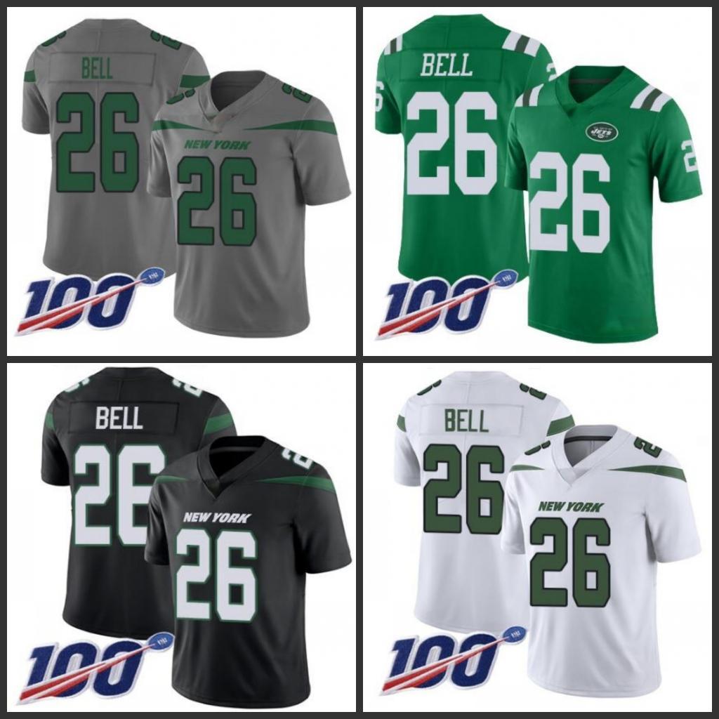New YorkjetsMen # 26 Le'Veon Bell Team Green 100e Saison femmes Couleur des hommes jeunes Cousu vapeur Jersey limitée