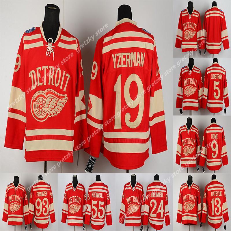 겨울 고전 디트로이트 날개 빨간색 RBK 유니폼 8 압델 9 하우 13 다츠 유크 (19) 스티브 이저 맨 (71) 딜런 라킨 사용자 정의 하키 저지