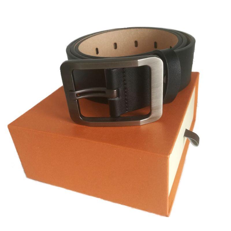 Moda grande fivela lisa fivela homens cintos masculinos mulheres cinturão feminino top qualidade acceessories ceinture couro com caixa