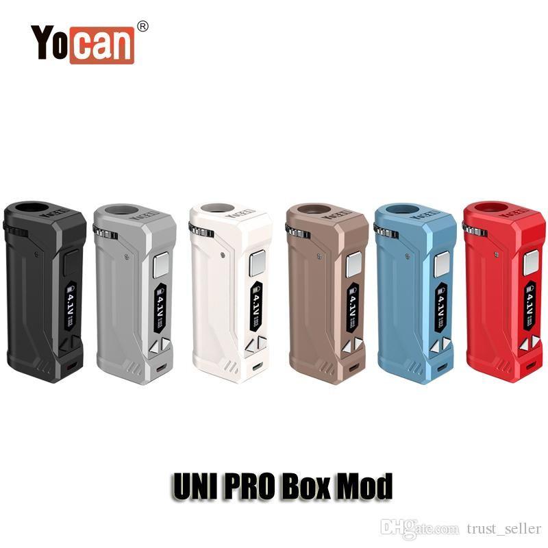100 % 원래 Yocan UNI는 510 두꺼운 기름 카트리지 분무기 정통 들어 상자 모 650mAh 예열 VV 변수 전압 OLED 디스플레이 배터리 PRO